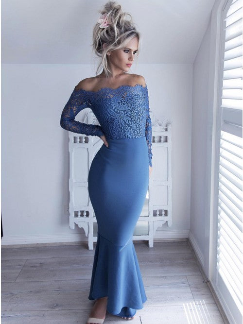 Affordable Long Sleeves Lace Off the Shoulder Mermaid Long Prom Dress, PD0130 - Wish Gown