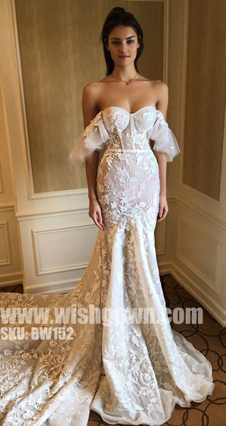 Unique Off the Shoulder Sweetheart Mermaid Applique Long Wedding Dresses, BW152