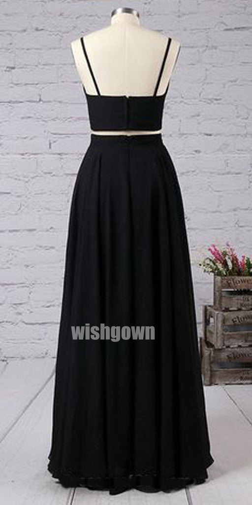 Sexy Two pieces Black High Slit Long Prom Dresses PG1180