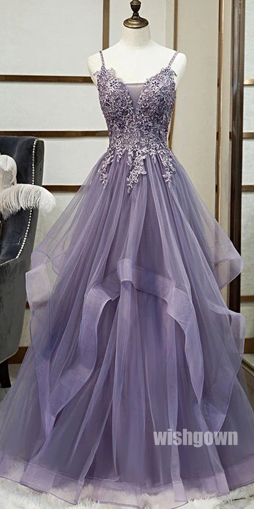 Popular Purple Spaghetti Strap Organza Long Prom Dresses PG1181