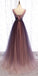 Charming V-neck A-line Tulle Long Prom Dresses PG1190