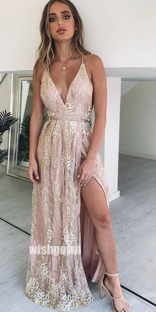 Sexy Golden Applique Split Side Long Prom Dresses PG1192