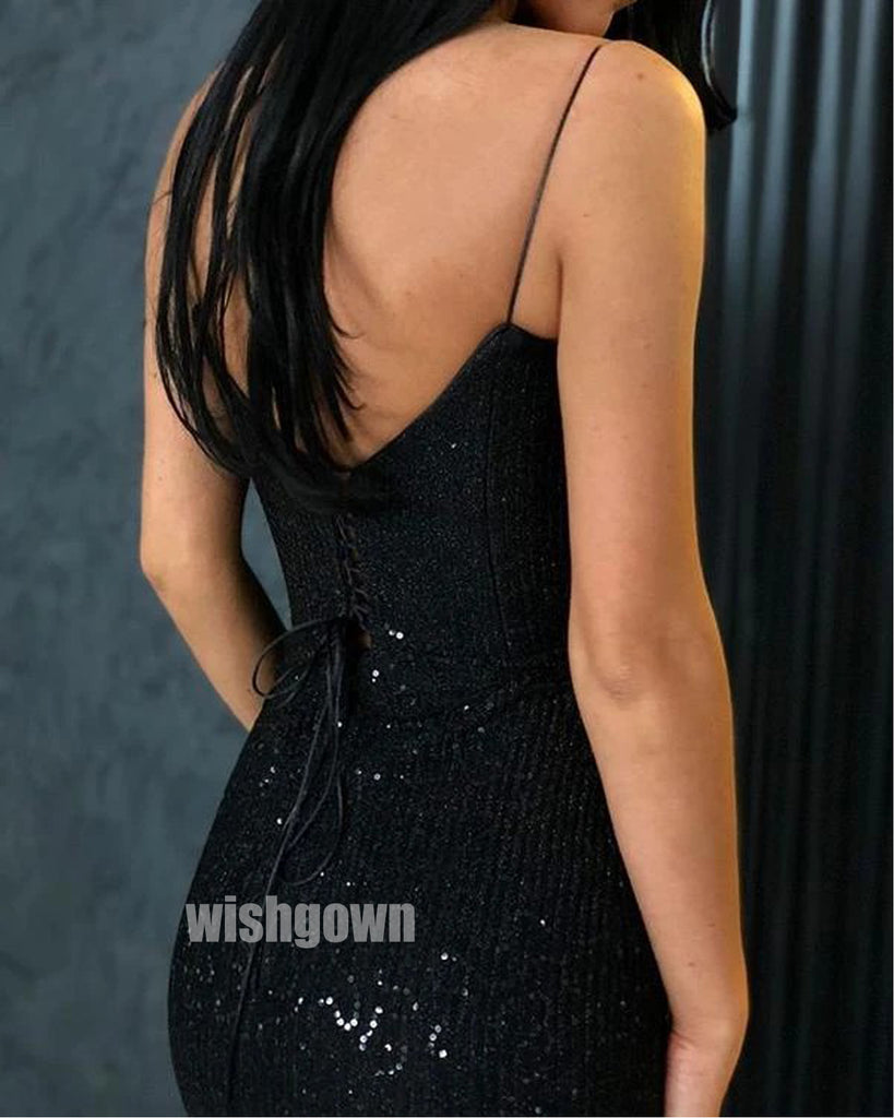 Sexy Black Matched Styles Long Prom Dresses PG1193