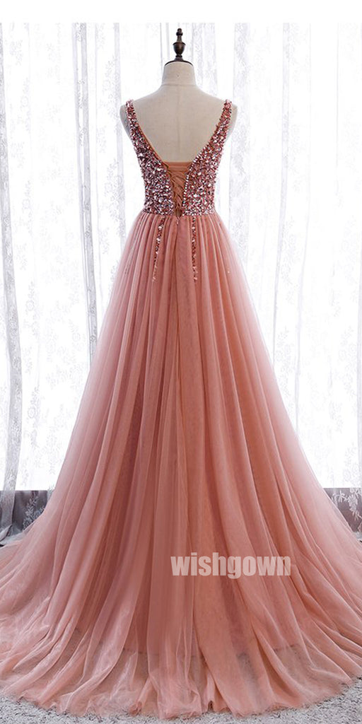 Elegant V-neck Beads Tulle Long Prom Dresses PG1194