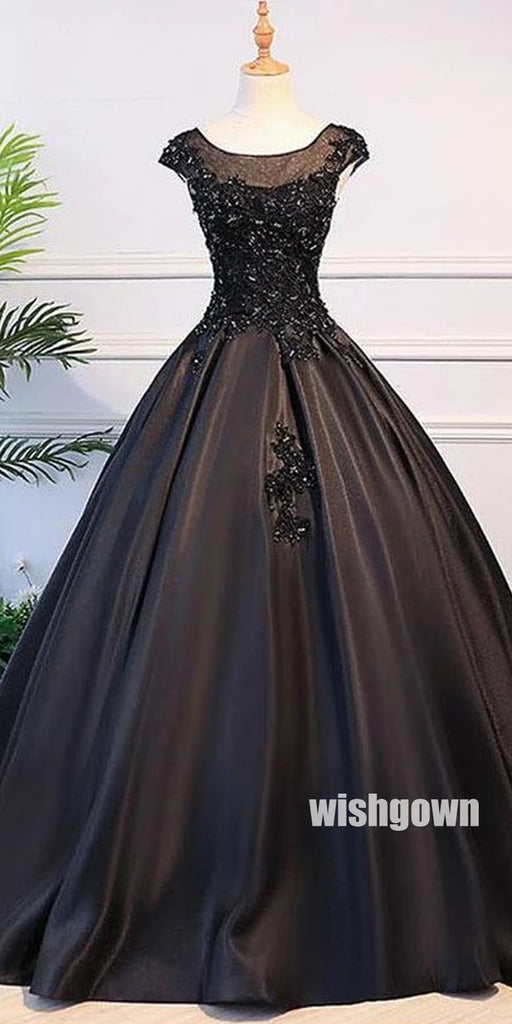 Charming Black Applique Ball Gown Long Prom Dresses PG1198