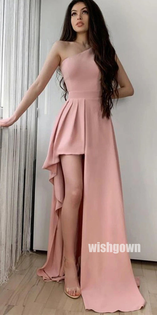 Unique One-shoulder Pink Low-high Prom Dresses PG1200