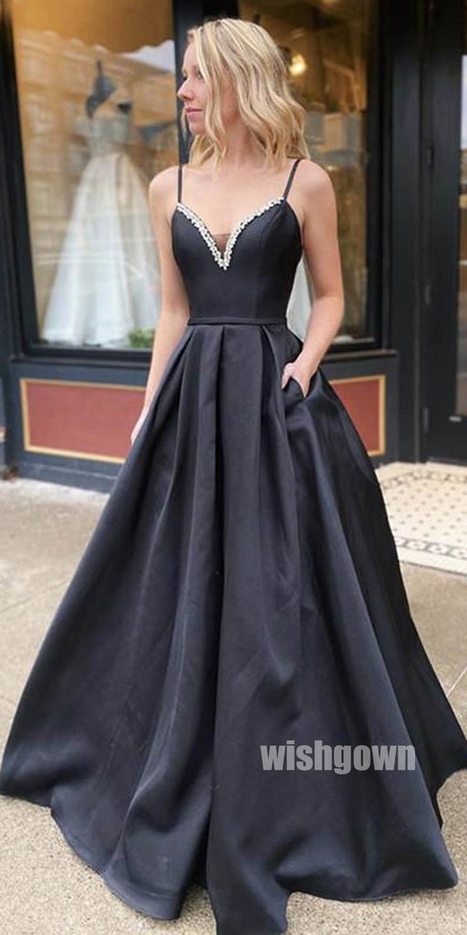 Simple Black Spaghetti Strap Stain Long Prom Dresses PG1202