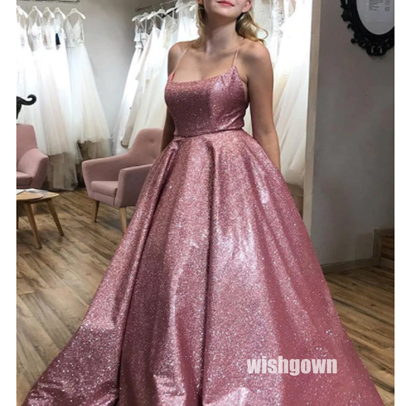 Dazzling Pink Bright Spaghetti Srap Long Prom Dresses PG1204
