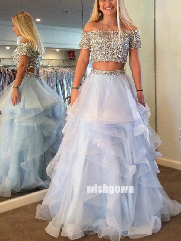Two Pieces Sabrina Sequins Tulle Prom Dresses PG1216