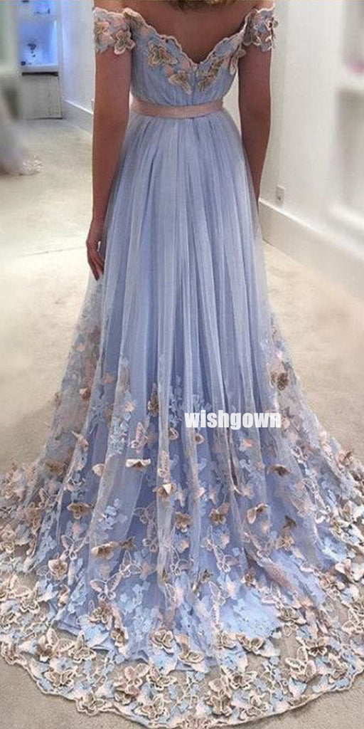 Elegant Off Shoulder Applique Tulle Prom Dresses PG1217