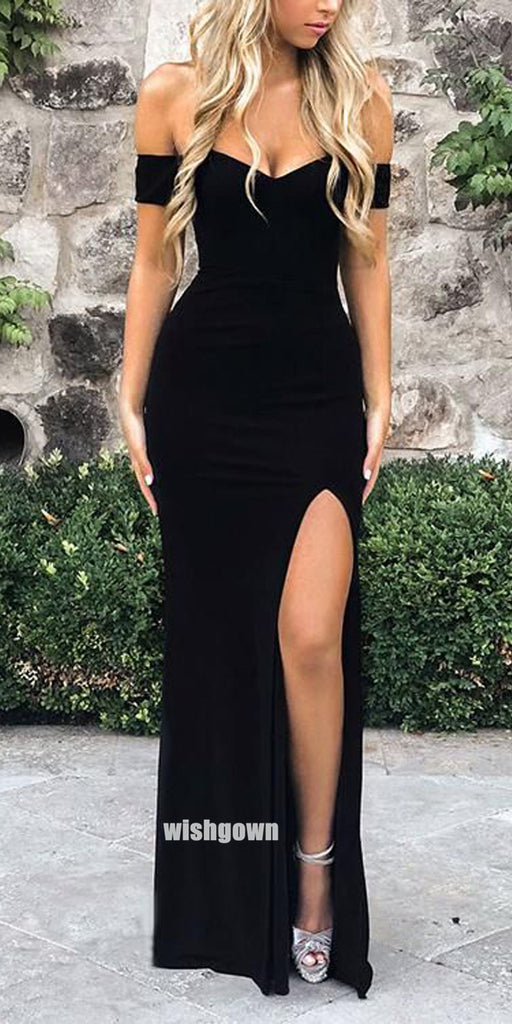 Sexy Black Off Shoulder Side Split Long Prom Dresses PG1219