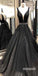 Charming V-neck Black Applique Tulle Long Prom Dresses PG1224