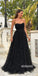 Charming Sweetheart Black Tulle Long Prom Dresses PG1223