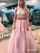 Two Pieces Pink Halter Applique Tulle Long Prom Dresses PG1220