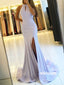 Elegant Halter Side Split Mermaid Long Prom Dresses PG1221