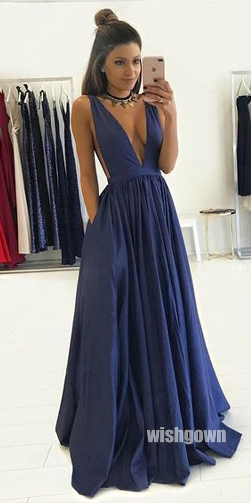 Sexy Dark Navy V-neck Backless Long Prom Dresses PG1222