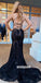 Sexy Black V-neck Lace Mermaid Long Prom Dresses PG1229