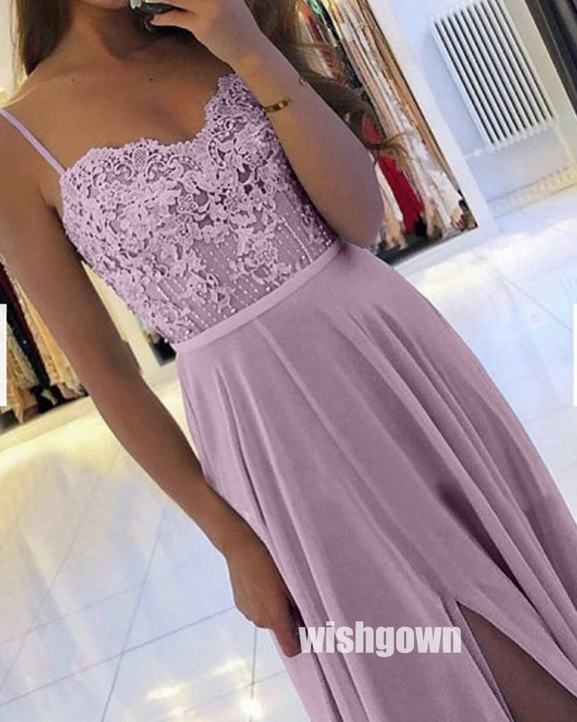 Purple Spaghetti Straps Lace-up Chiffon Long Prom Dresses PG1234
