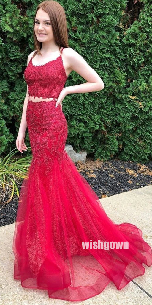 Red Two Pieces Lace Mermaid Prom Dresses PG1235