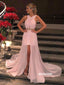 Unique Pink Halter Beads Tulle Prom Dresses PG1242