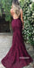 Sexy Burgundy V-neck Mermaid Lace Prom Dresses PG1243