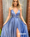 Sexy V-neck Side Split Stain Prom Dresses PG1244