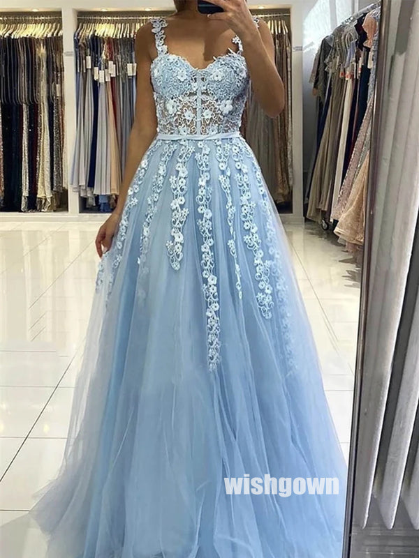 Elegant Light Blue Lace Top Tulle Prom Dresses PG1245