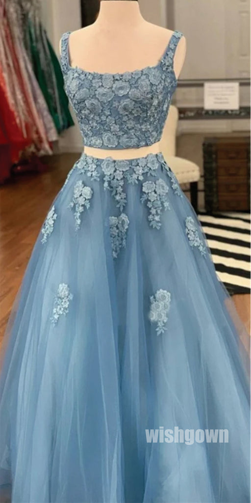 Elegant Blue Two Pieces Applique Tulle Prom Dresses PG1248