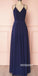 Elegant V-neck Navy Blue Backless Long Prom Dresses, PG1249