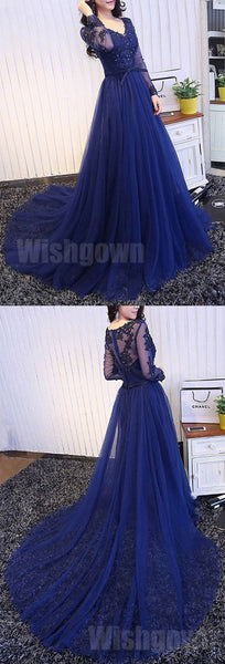 Royal Blue Long Sleeves Tulle Elegant Cheap Long Prom Dresses, WG1050