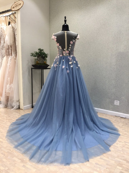 Cap Sleeves Unique Chariming Affordable Cheap Long Prom Dresses, WG1010 - Wish Gown