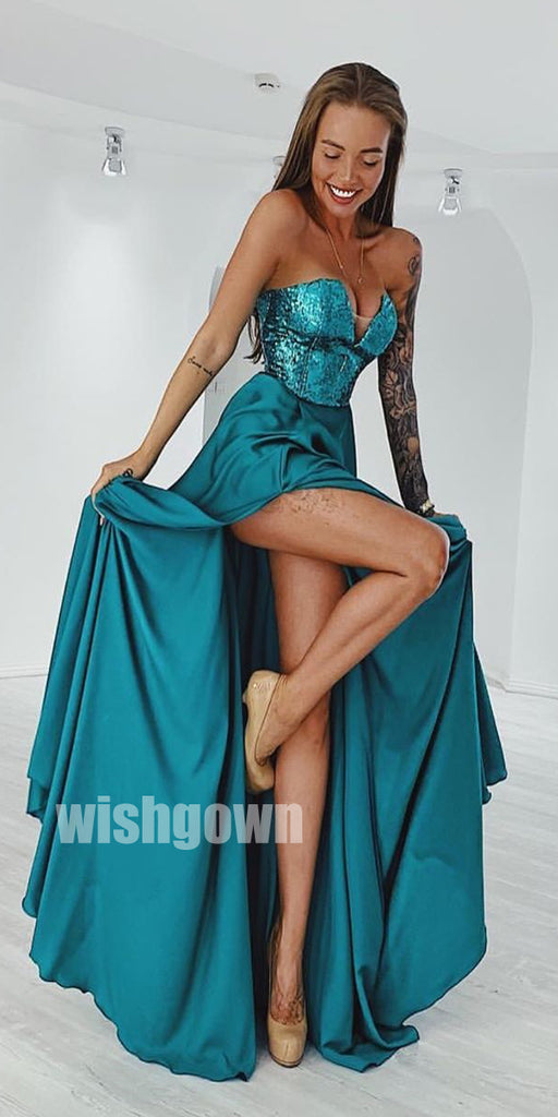 A-line Sleeveless Side Slit Long Prom Dresses PG1115