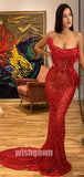 Red Mermaid Sexy Beaded Long Prom Dresses PG1161