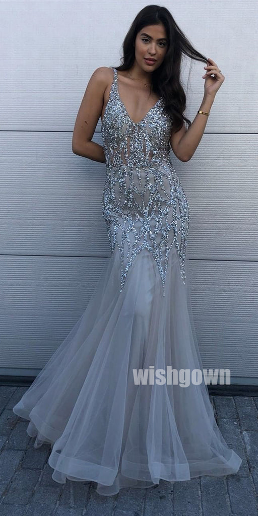 Beaded Mermaid V-Neck Long Prom Dresses PG1128