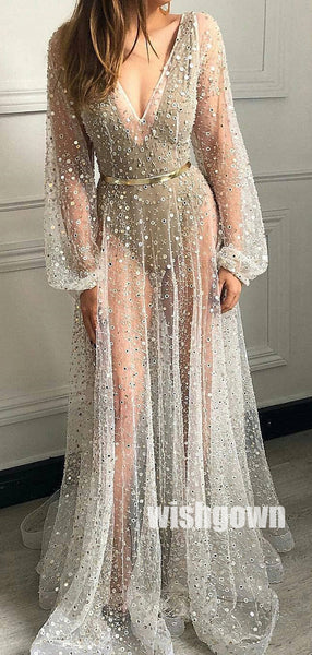 Long Sleeves V-neck See Through Long Prom Dresses PG1162