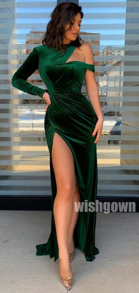 One Shoulder Long Sleeve Side Slit Mermaid Long Prom Dresses PG1174