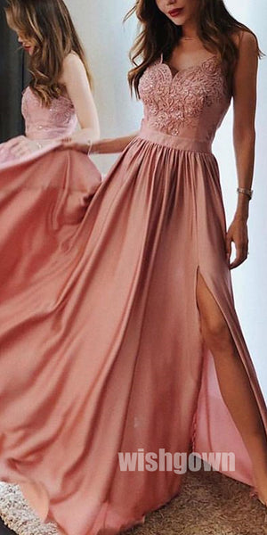 A Line Chiffon Lace Side Slit Long Prom Dresses, MD1112