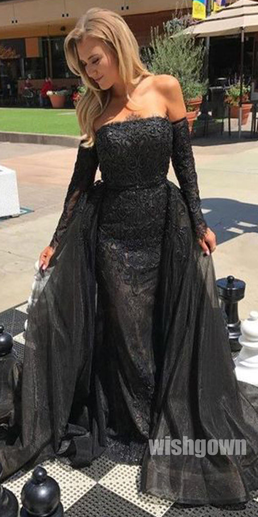 Popular Black Lace Charming Evening Inexpensive Long Prom Dresses, WG1119