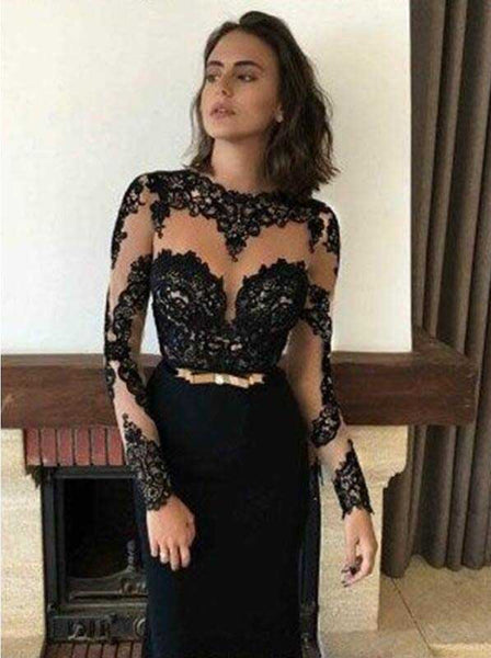 Long Sleeves Black Elegant Affordable Long Prom Dresses, SG109