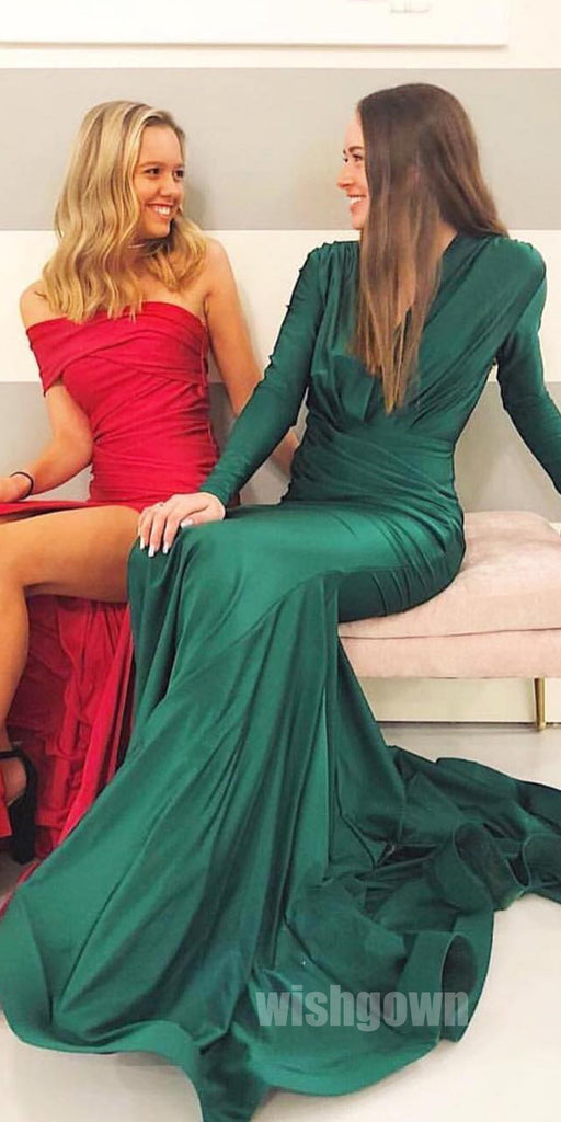 Long Sleeves Teal Green Modest Long Evening Prom Dresses, MD1126