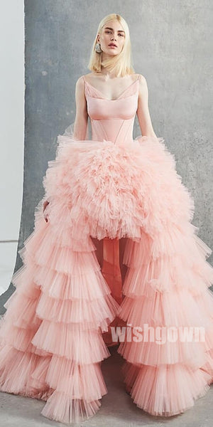 High Low Pink Tulle Gorgeous Long Prom Dresses PG1111