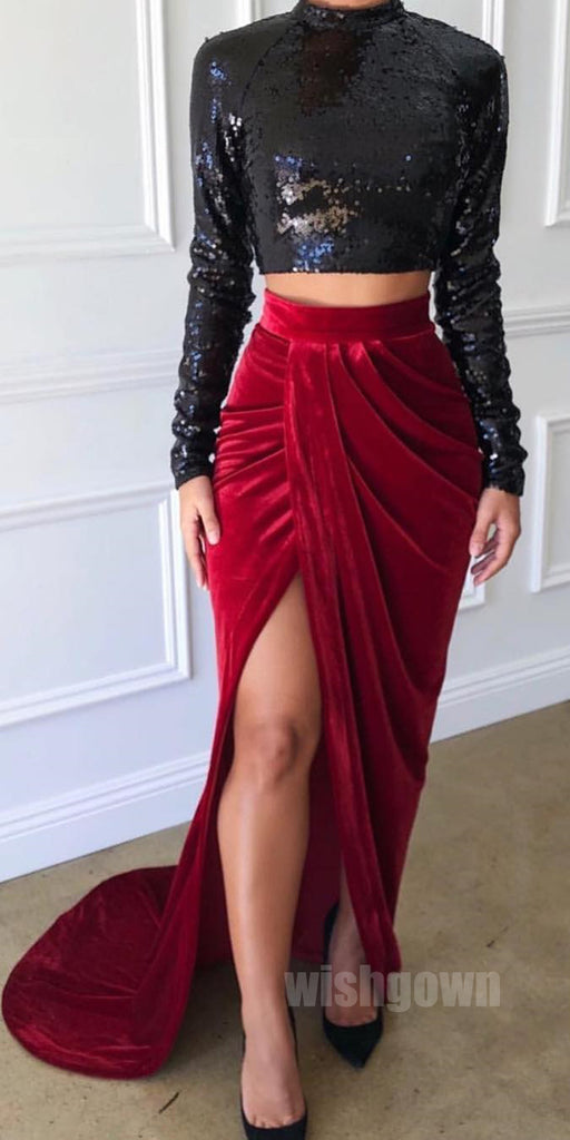 Two Pieces Long Sleeves Side Slit Mermaid Long Prom Dresses, MD1128