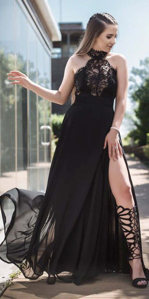 Black Chiffon Lace Halter Side Slit A Line Formal Prom Dresses, SG142