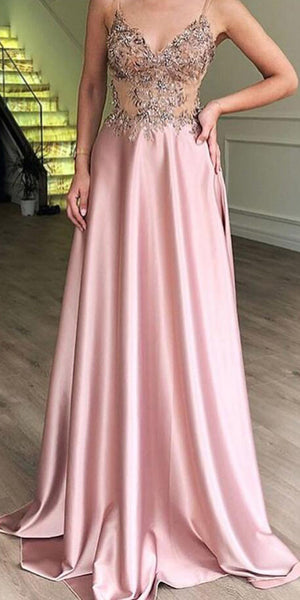 Spaghetti Strap Unique Applique Formal A Line Long Prom Dresses, SG162
