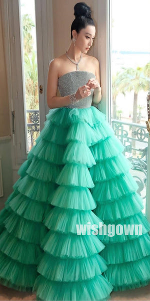 Gorgeous Tulle Evening Long Prom Dresses Ball Gown PG1103