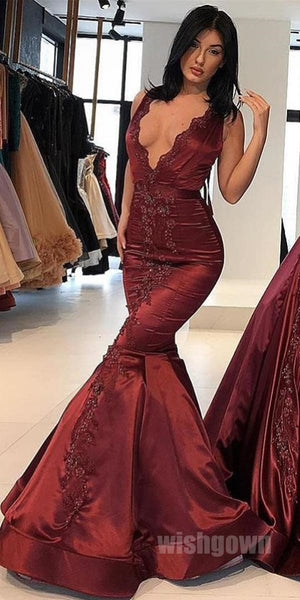 Burgundy V Neck Satin Applique Long Evening Prom Dresses, MD1125