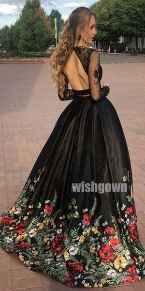 2 Pieces Long Sleeves Open Back Inexpensive Long Prom Dresses with Flowers, SG101
