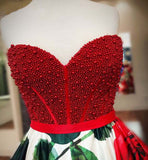 Sleeveless Beaded Red Flowers Sweetheart Long Prom Dresses, SG131