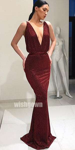 Sexy Mermaid Deep V Neck Open Back Simple Long Prom Dresses, MD1132