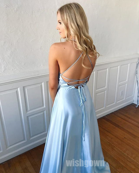 Blue Open Back Side Slit Popular Long Prom Dresses, MD1118